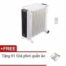 Lò sưởi dầu 11 thanh có điều khiển Tiross TS9212 (Trắng) + Tặng 01 Giá phơi quần áo
