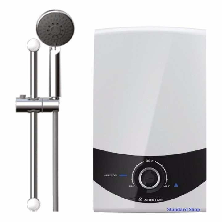 Máy nước nóng trực tiếp Ariston SMC45PE-VN chống giật có bơm, công suất 4500W, bơm trợ lực siêu êm (Trắng)