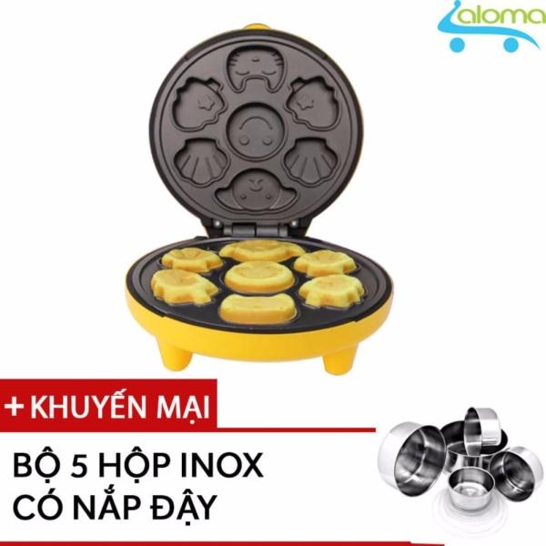 Máy nướng làm bánh 7 khuôn hình thú AL-NB7M Tặng bộ 5 hộp Inox
