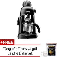 Máy pha cà phê Espresso 4 cốc Tiross TS620 (Đen) + Tặng 1 cốc Tiross và 1 gói cà phê Dakmark