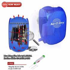 Hình ảnh Máy sấy quần áo air o dry 3 trong 1 + Free lấy ráy tai có đèn (Xanh)