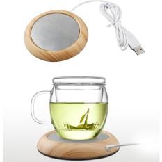 Hình ảnh Metal Wood Grain Electric Insulation Coaster USB Warm Cup Office Coffee Tea Milk Warmer Mat Pad - intl
