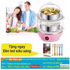 Hình ảnh Nồi luộc trứng và hấp thức ăn 2 tầng đa năng (hồng )+ tặng đèn led siêu sáng