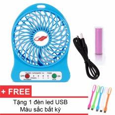 Hình ảnh Quạt Sạc Tích Điện USB Mini Fan ( xanh dương) + Tặng 1 Đèn Led USB