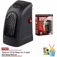 Quạt sưởi ấm Handy Heater hẹn giờ nhỏ gọn, làm ấm nhanh(Đen)+Tặng set 15 túi đựng rác có quai tiện dụng Biclean