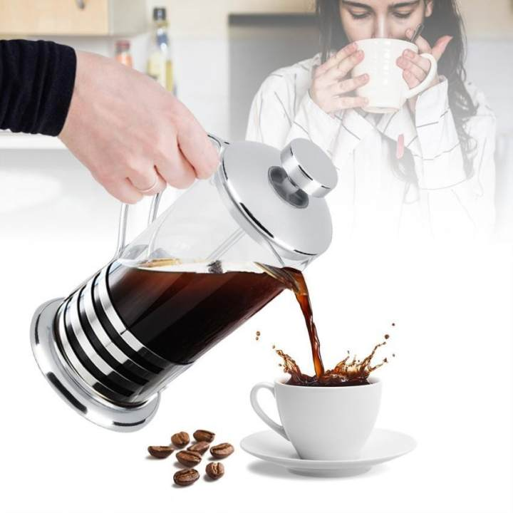Stainless Steel Glass Cafetiere French Filter Tea Coffee Pot Press Plunger - intl