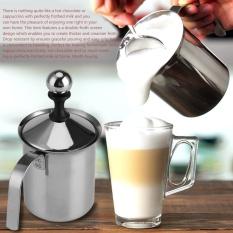 Hình ảnh Đồng hồ nam Dây Thép Không Gỉ Hướng Dẫn Sử Dụng Bọt Sữa Lưới Kép Cà Phê Cappuccino Sữa Rửa Mặt Foamer Kem-800 ml-quốc tế