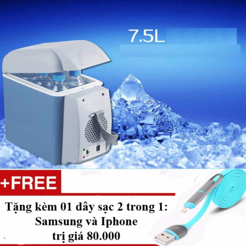 Tủ lạnh mini 12V trên ô tô với dung tích 7,5lit nước + Tặng 01 dây sạc điện thoại 2 trong 1 cho Iphone và Samsung