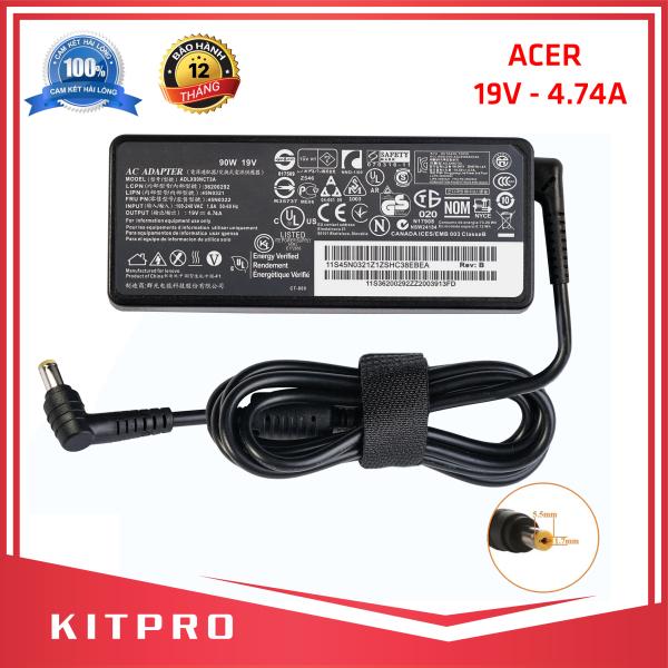 Bảng giá [HÀNG CAO CẤP] Cục sạc laptop Acer 19V 4.74A KITPRO BẢO HÀNH 12 THÁNG kích thước đầu ghim 5.5mm x 1.7mm đầu tròn loại không có kim ở giữa Phong Vũ