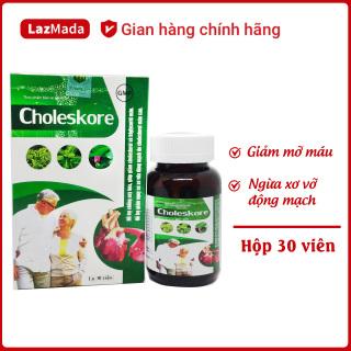 Viên uống giảm mỡ máu Choleskore - Hỗ trợ giảm cholesterol trong máu, giảm nguy cơ xơ vữa động mạch hiệu quả - Hộp 30 viên đạt chuẩn GMP Bộ y tế thumbnail