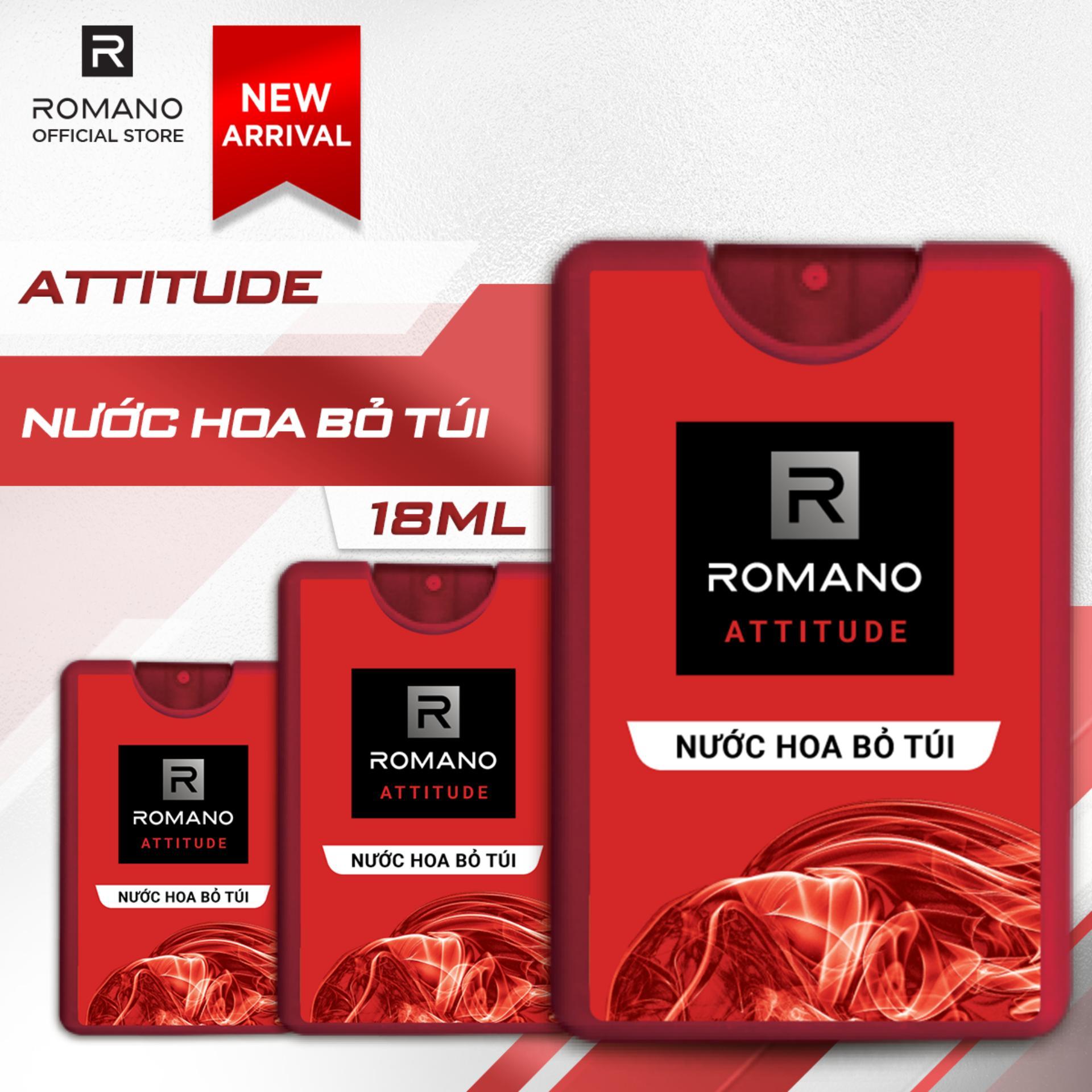 Combo 3 Nước hoa bỏ túi Romano Attitude nồng ấm quyến rũ 18ml cao cấp