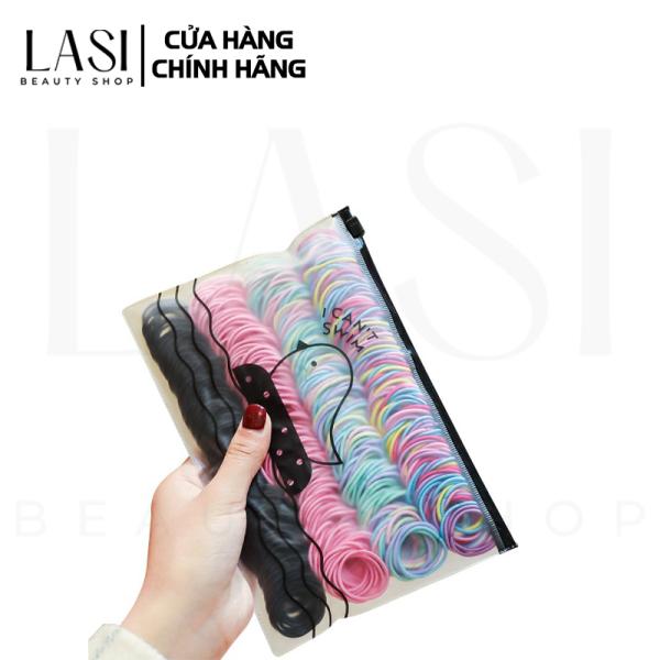 Set 100 sợi thun cột tóc kèm túi zip dễ thương, chắc chắn, tiện lợi giá rẻ nhiều màu sắc