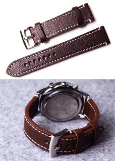 Dây da đồng hồ nam da bò thật size 18mm, 20mm và 22mm tặng kèm chốt - D1608 thumbnail