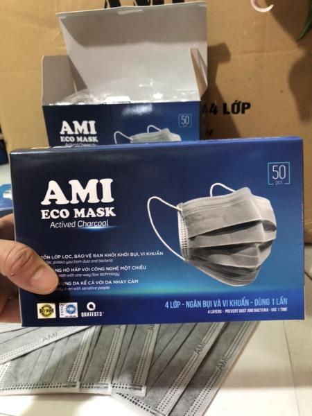 Combo 2 hộp Khẩu Trang Y Tế Than Hoạt Tính 4 lớp,AMI (50 chiếc /1 hộp)2xám [khẩu trang y tế]