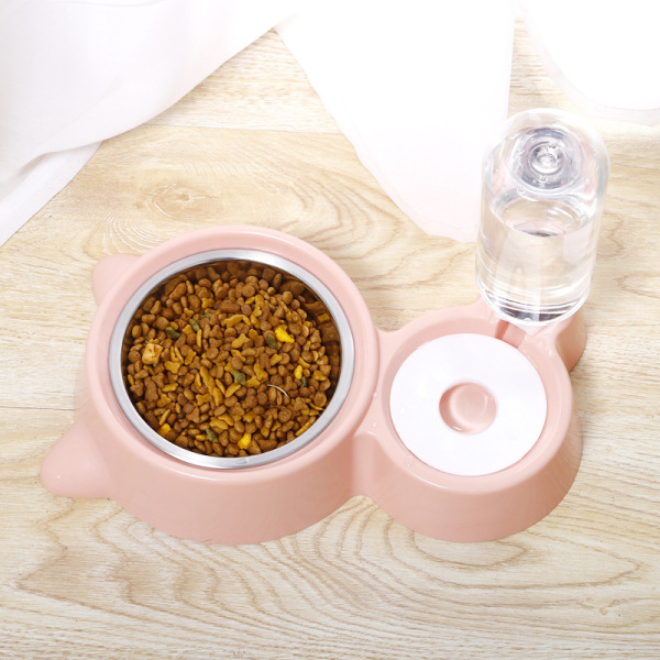 Bát ăn đôi inox kèm bình nước tự động cho chó mèo giúp các bé chăm uống nước và không bị dính nước ở miệng