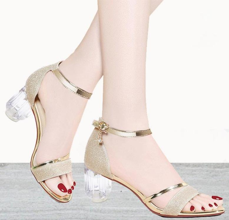 ( Bảo hành 12 tháng - Kèm video) Giày gót vuông nữ gót Mika quai ánh kim- Giày cao gót 5 phân - Giày nữ da mềm 2 màu Vàng và Đen - Linus LN1790 giá rẻ
