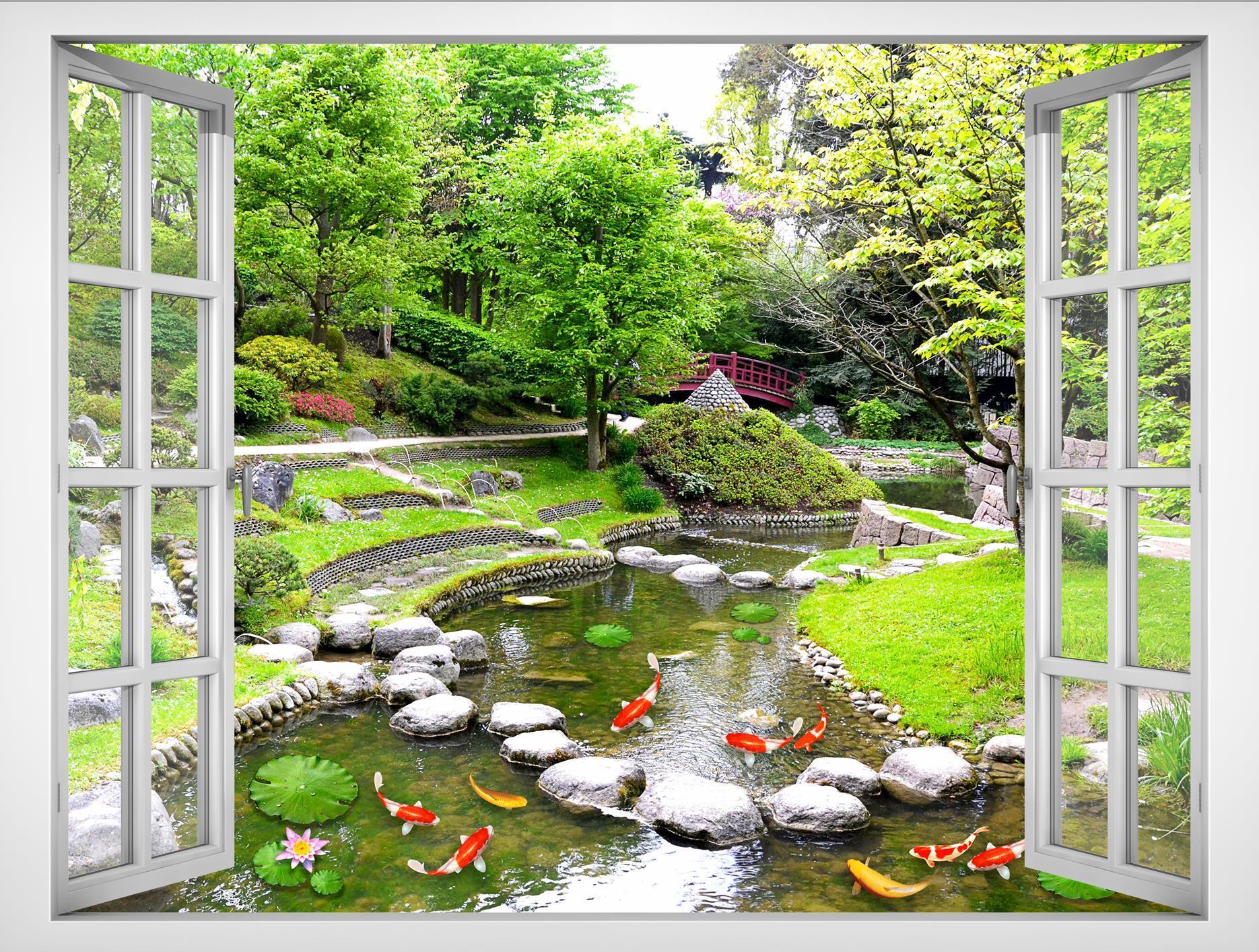Tranh dán tường cửa sổ 3D VTC Cảnh đẹp thiên nhiên VT0377