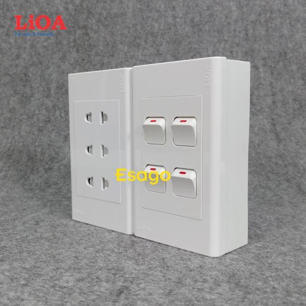 Combo ổ cắm điện ba 2 chấu 16A (3520W) + 4 công tắc điện LiOA - Lắp nổi