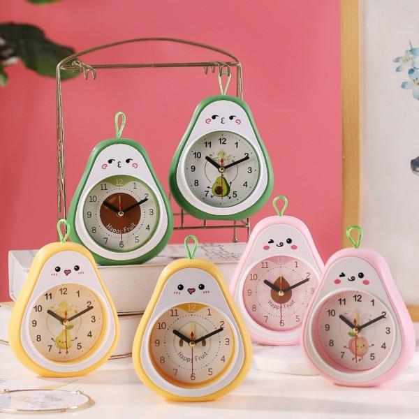Nơi bán Đồng hồ báo thức hình quả bơ dễ thương có 3 màu xinh xắn, Đồng hồ báo thức để bàn mini có móc treo