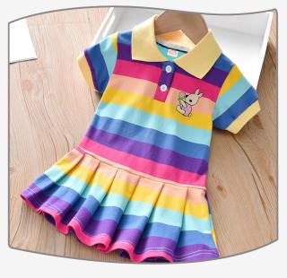 Áo Polo Bé Gái Mùa Hè 2021 Váy Váy Xếp Ly Cầu Vồng Ngắn Tay Quần Áo Trẻ Em Áo Cánh Nữ Hàn Quốc Váy Công Chúa Thời Trang Thường Ngày 1 2 3 4 5 6 7 8 9 10 Tuổi