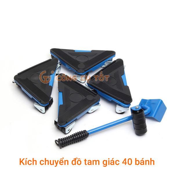 Bộ dụng cụ nâng và di chuyển đồ tam giác 40 bánh bằng sắt TẶNG gang tay cảm ứng