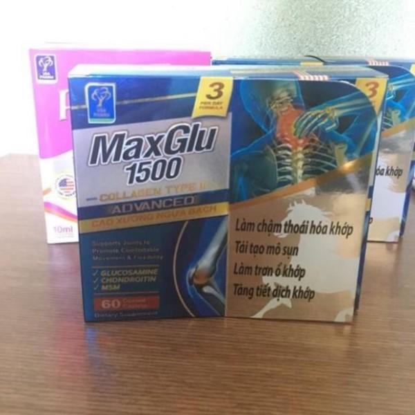 Maxglu 1500 Giúp phục hồi, tái tạo mô sụn khớp, tăng tiết dịch lọ 60 viên nhập khẩu