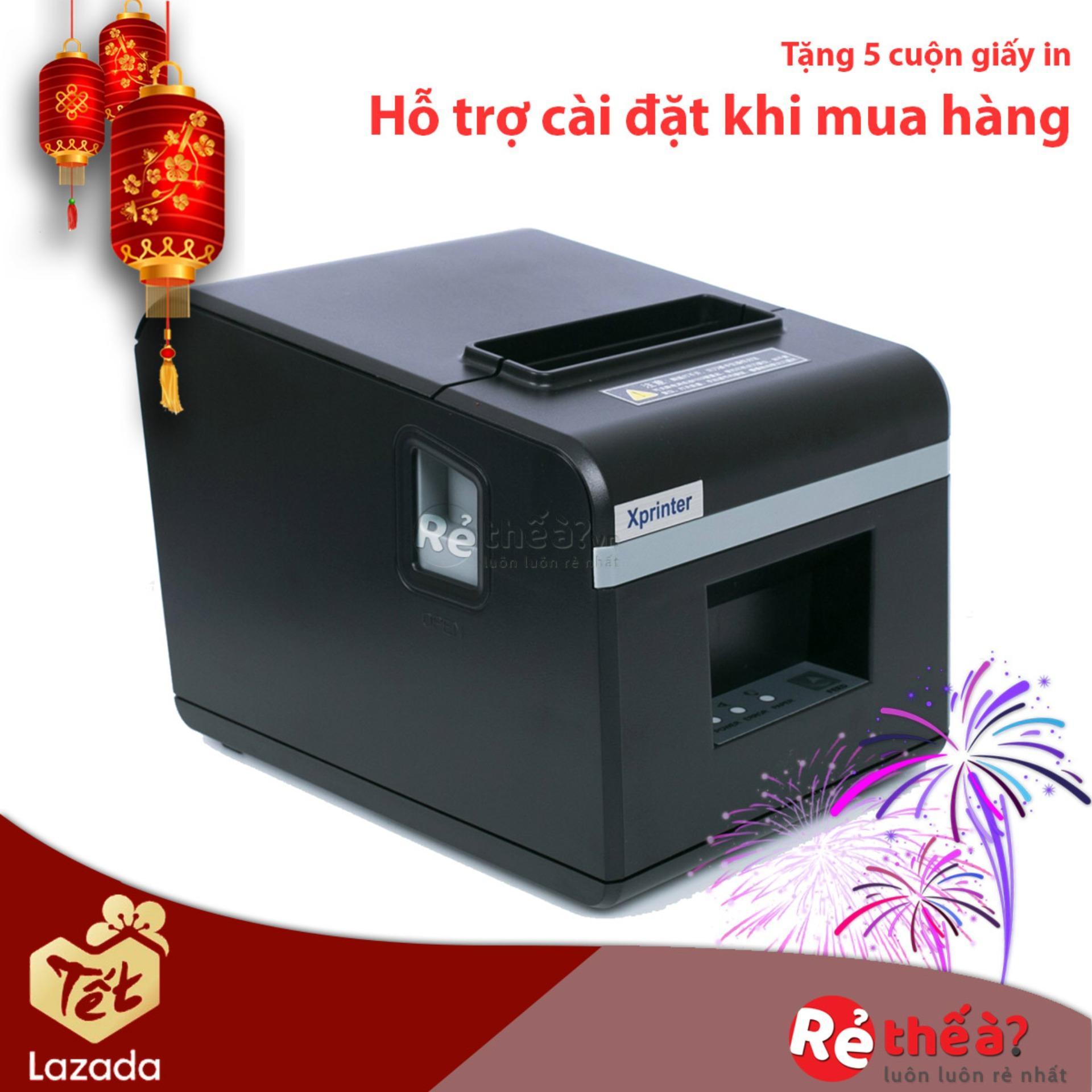 Giá Máy in hóa đơn XPRINTER N160II KHỔ GIẤY 80mm (CỔNG GIAO TIẾP USB)-  Hàng Nhập Khẩu + Tặng 5 cuộn giấy in nhiệt khổ 80mm