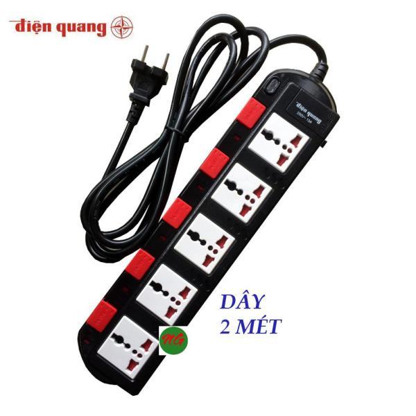 Ổ cắm điện quang 5 ổ cắm 5 công tắc dây 2 mét  ĐQESK2W-B ( Trắng hoặc đen )