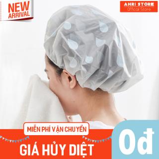 (Loại cao cấp) Mũ trùm tóc chống thấm nước dùng tắm vòi sen hoặc Ủ tóc dưỡng tiết họa tiết hạt nước, chất liệu PEVA an toàn sức khỏe dùng cho cả Nam và Nữ 1.MCTT.AHRLiL thumbnail