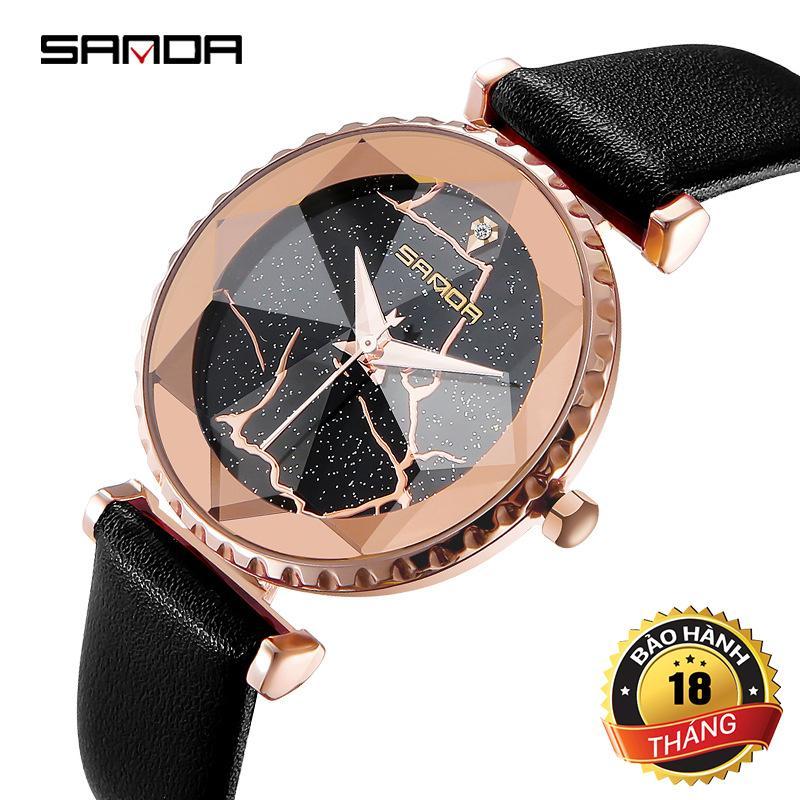 Đồng hồ nữ Sanda JAPAN Mặt kính đa giác 8 cạnh - Khắc Laser siêu đẹp + Tặng hộp & Pin bán chạy