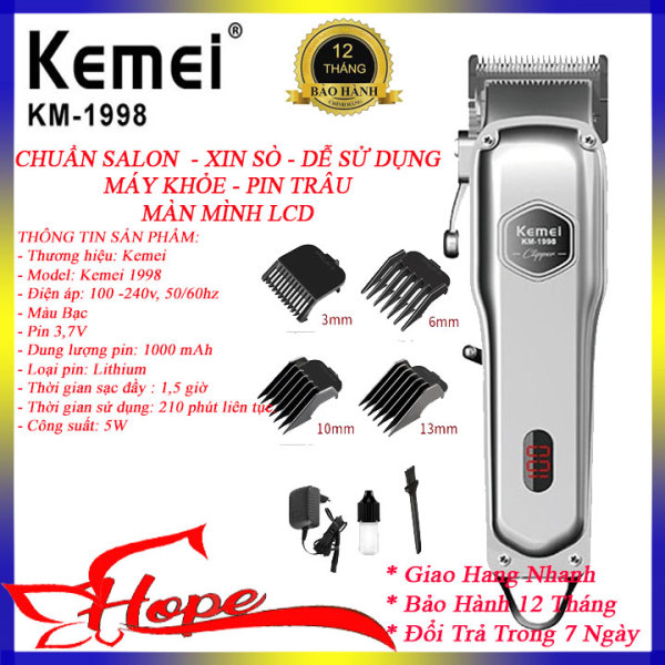Tông đơ cắt tóc cao cấp Kemei 1998 thân nhôm nguyên khối, tăng đơ hớt tóc chuyên nghiệp không dây sạc pin đẳng cấp hơn tông đơ cắt tóc gia đình JC0817, codol ch531 cao cấp