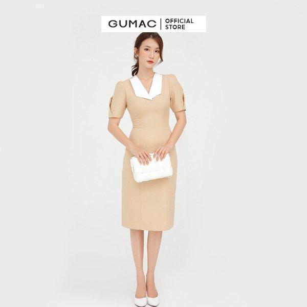Nơi bán Đầm nữ phối cổ ly tay GUMAC mẫu mới DB527 form A hơi ôm style công sở