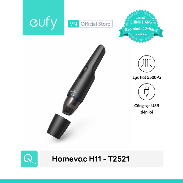 Máy hút bụi mini cầm tay không dây EUFY HomeVac H11 (by Anker) - T2521 - Thiết kế nhỏ gọn cao cấp - Hút siêu mạnh 5500 Pa - Hàng chính hãng bảo hành 1 năm