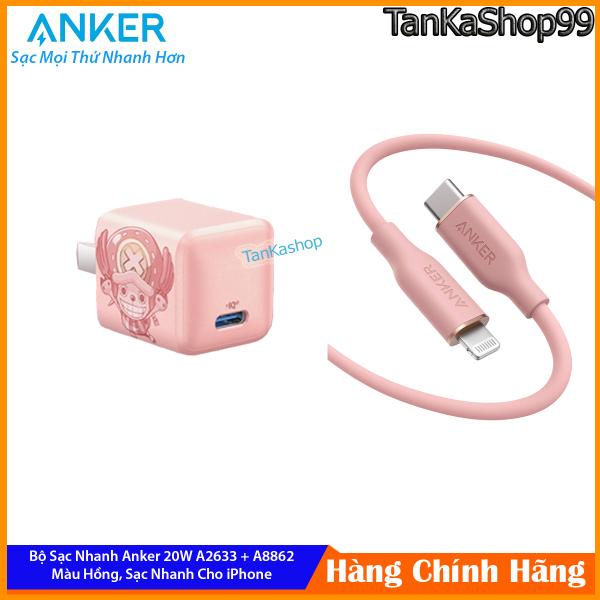 Bộ Sạc Nhanh Anker A2633 + A8662 20W Phiên Bản Màu Hồng Cho iPhone