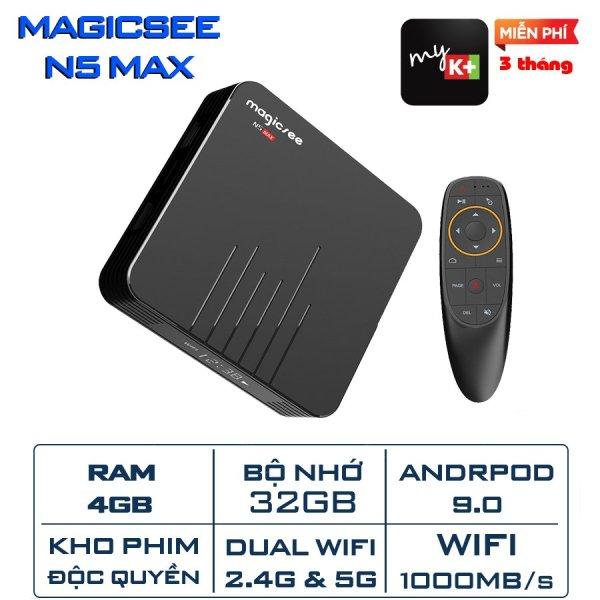 Android Tivi Box Magicsee N5 Max - Ram 4GB Rom 32GB Android 9.0 - Có Bản Rom ATV [ Phiên bản 2020 tặng khiển giọng nói google ]