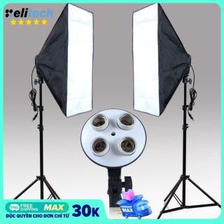 Bộ Đèn Studio Đèn Chụp Ảnh Sản Phẩm Livestream Tiktok Đui 4 Bóng Chân Đèn 2m Kèm Softbox 50x70 Hỗ Trợ Sáng. Ko kèm bóng đèn thumbnail