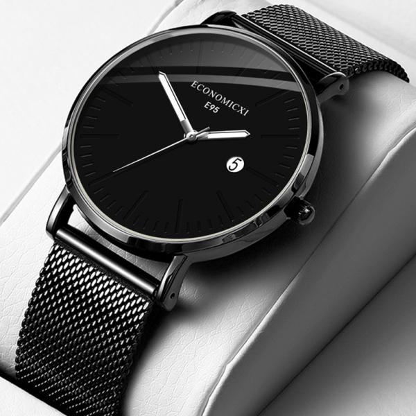 Đồng hồ nam ECONOMICXI chống gỉ dây thép lụa đen chạy lịch ngày cao cấp DZ10 (có kèm hộp) bán chạy