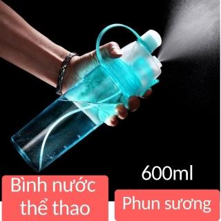 Bình nước thể thao 600ml có vòi xịt phun nước, bình nước thể thao phun sương 2 trong,giá rẻ vô địch thumbnail