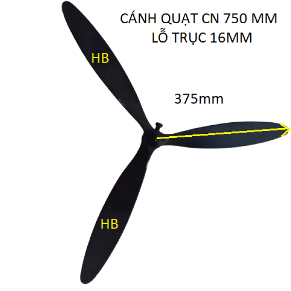 Cánh quạt công nghiệp 750mm lỗ trục 16mm- Cánh quạt công nghiệp 750 Vinawind lỗ trục 16mm