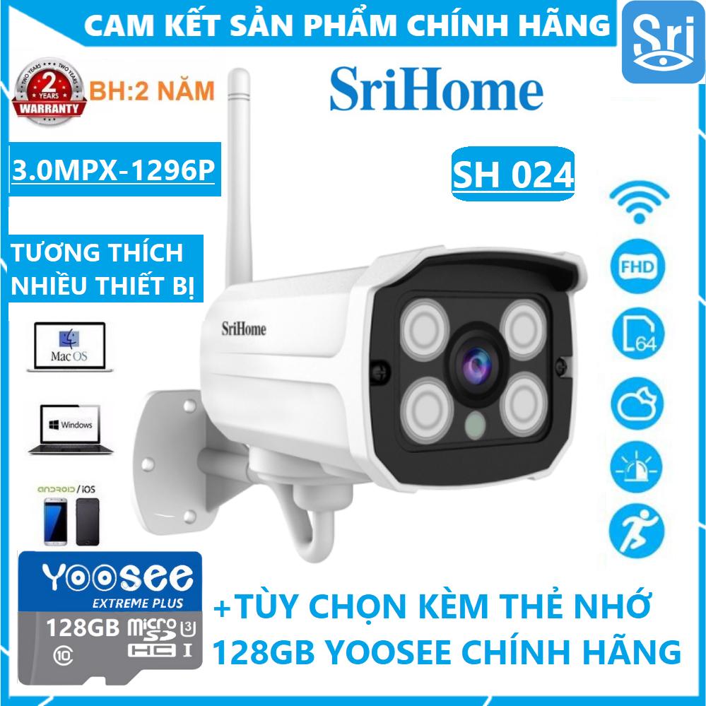[TÙY CHỌN KÈM THẺ 128GB CHUYÊN DỤNG - BẢO HÀNH 2 NĂM CẢ CAMERA LẪN THẺ] Camera wifi ngoài trời Srihome SH024 3.0 MPX 1296 Pixel - Chống Nước - Vỏ Kim Loại - Góc Rộng - QUAY XA 30M