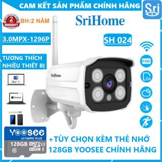 [TÙY CHỌN KÈM THẺ 128GB CHUYÊN DỤNG - BẢO HÀNH 2 NĂM CẢ CAMERA LẪN THẺ] Camera wifi ngoài trời Srihome SH024 3.0 MPX 1296 Pixel - Chống Nước - Vỏ Kim Loại - Góc Rộng - QUAY XA 30M thumbnail