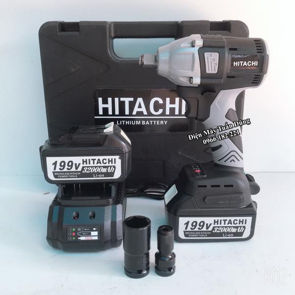 Máy siết bulong Hitachi 199v - 2 PIN - Đầu 2 trong 1 - KHÔNG CHỔI THAN - TẶNG 1 ĐẦU CHUYỂN VÍT