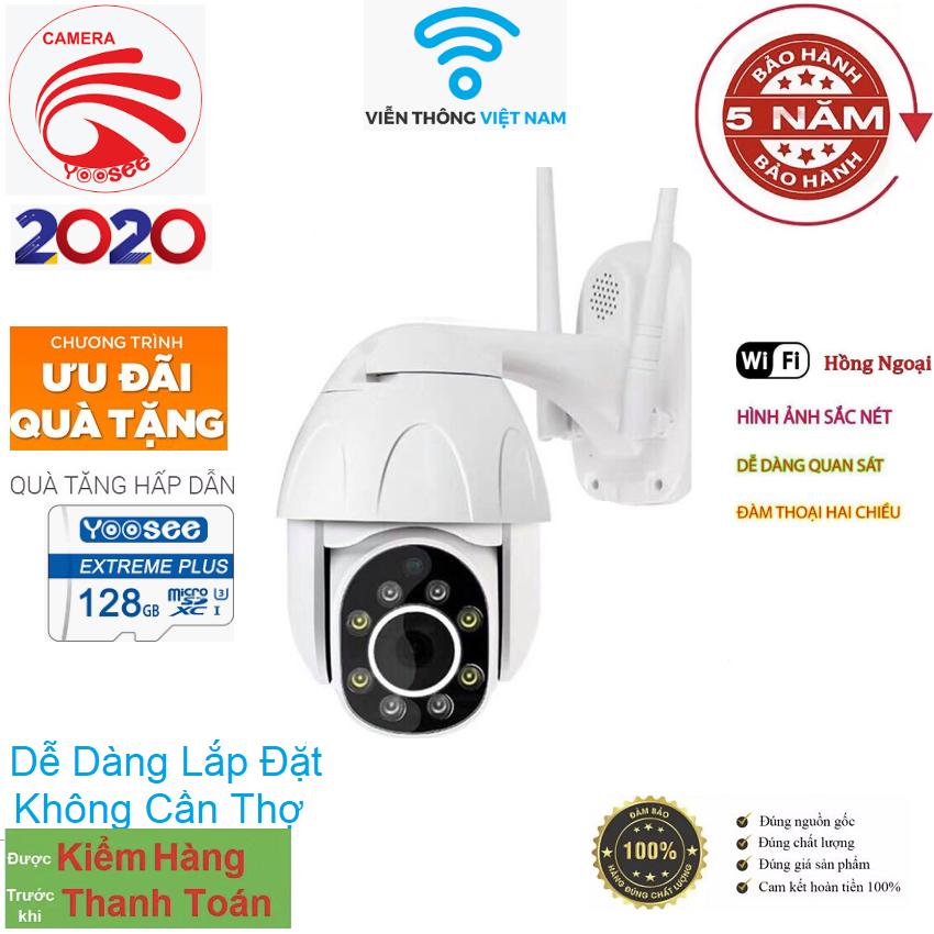 [CÓ MẦU BAN ĐÊM XOAY 360 ĐỘ TẶNG KÈM THẺ 128GB YOOSEE] camera wifi 3.0 ngoài trời - Camera Wifi Ip Ngoài Trời - FULLHD 1080 - Xoay 360°- Đèn Led- Đàm Thoại 2 Chiều-Hồng Ngoại Quay Đêm-Siêu Nét - Viễn Thông Đại Phát