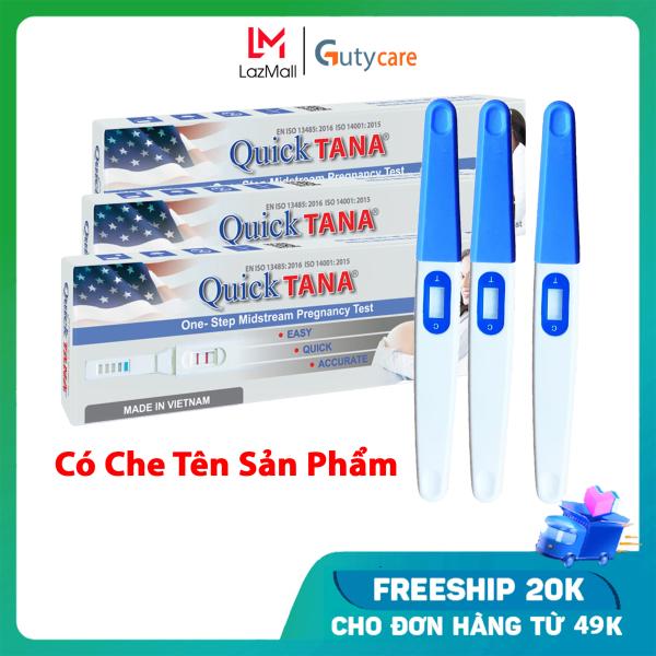 Hộp 3 bút thử thai Quick tana phát hiện thai sớm, test nhanh chóng đơn giản cho kết quả chính xác như que thử thai điện tử - Guty Care cao cấp