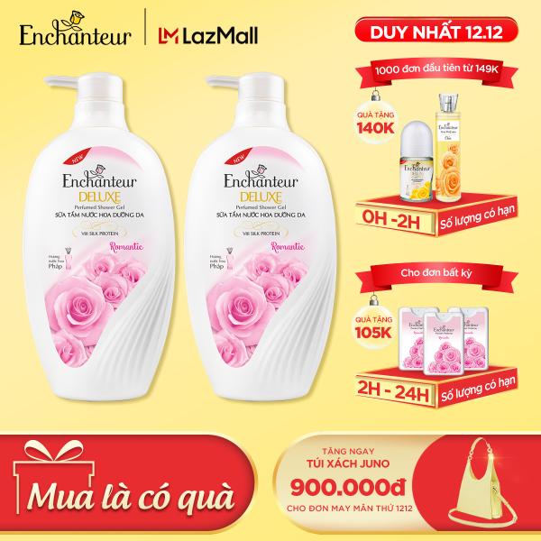 [12-14.12 MUA 1 GIẢM THÊM 25K] Combo 2 Sữa tắm hương nước hoa Enchanteur Sensation/ Delightful/ Romantic/ Magic 650gr/ Chai