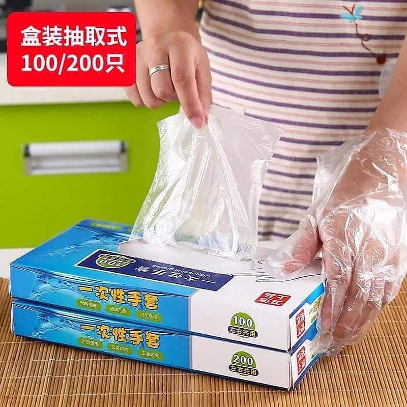 Bao tay nilon 200 cái/hộp giá rẻ