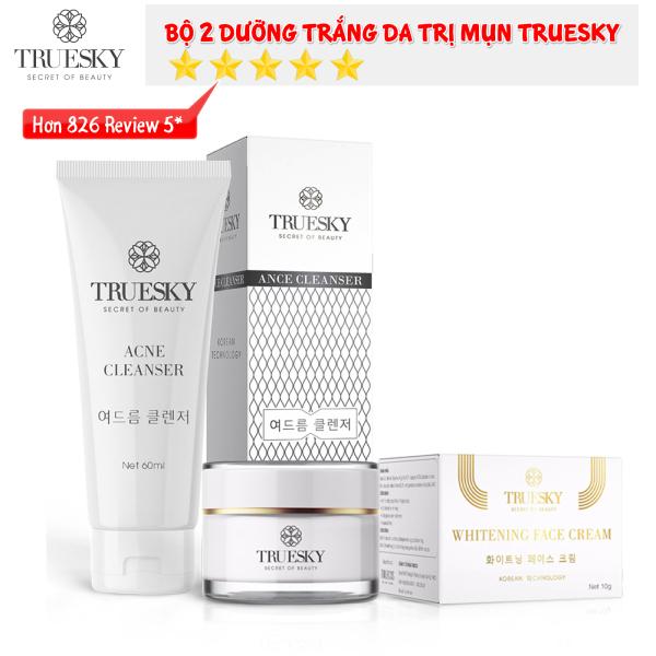 Bộ sản phẩm ngừa mụn và dưỡng trắng da mặt Truesky gồm 1 sữa rửa mặt than hoạt tính 60ml & 1 kem dưỡng trắng da mặt 10g