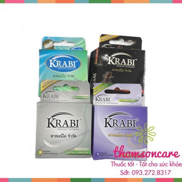 Bao cao su Thái Lan Krabi - hộp 3 chiếc sản phẩm có nguồn gốc xuất xứ rõ ràng dễ dàng sử dụng cam kết sản phẩm y như hình cao cấp
