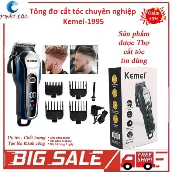 Tông đơ cắt tóc loại tốt Kemei KM-1995, tăng đơ cắt tóc trẻ em, người lớn, hớt tóc chuyên nghiệp, không dây, màn LCD, chống rung, chống ồn cực tốt