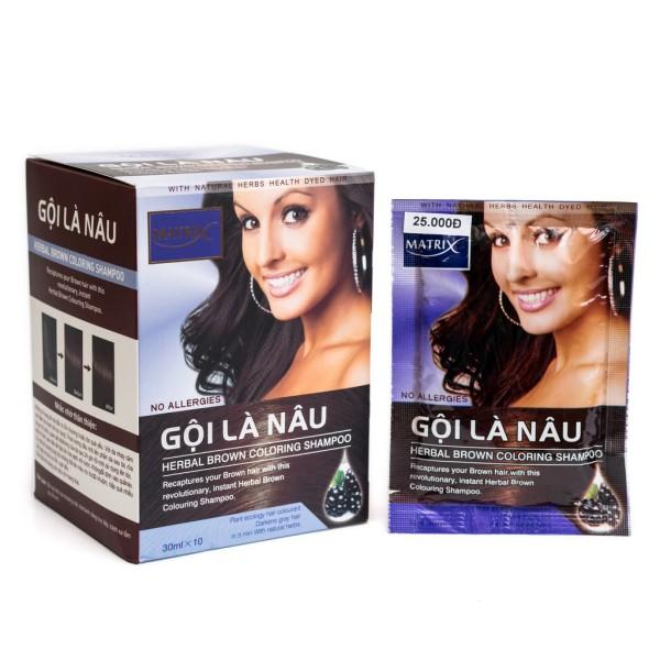 Thuốc gội tóc thảo dược Matrix Herbal Brown - gội nâu (hộp 10 gói), cam kết sản phẩm đúng mô tả, chất lượng đảm bảo,